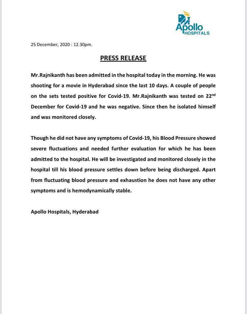 Rajinikanth Admitted In Apollo Hospital | Gulte - Latest Andhra Pradesh,  Telangana Political and Movie News, Movie Reviews, Analysis, Photos