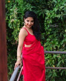 Sakshi Agarwal Looks Enticing In A Shimmery Red Saree